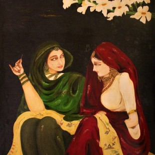 Soulful Talk by Gogi, Traditional Painting, Oil on Canvas Board, Brown color