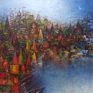 Banaras Ghat by M Singh, Geometrical Painting, Acrylic on Canvas, Brown color