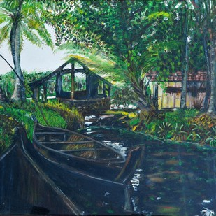 The serenity by Sheeba, Impressionism Painting, Oil on Canvas, Green color