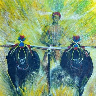 Village Competition 2 by Sheeba, Impressionism Painting, Oil on Canvas, Green color