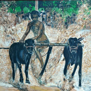 Village competition 3 by Sheeba, Impressionism Painting, Oil on Canvas, Green color
