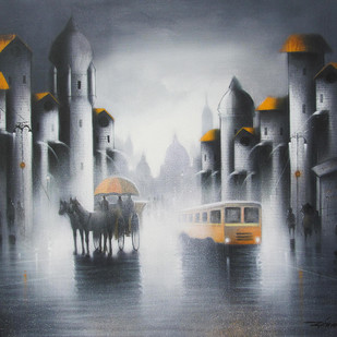 Rhythmic Monsoon Ride by Somnath Bothe, Impressionism Painting, Acrylic on Canvas, Gray color