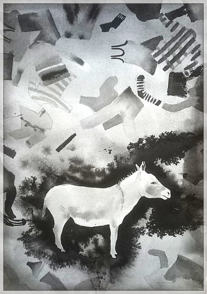 No place for me by Rudra Majithia, Expressionism Painting, Watercolor & Ink on Paper, Gray color