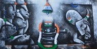 Celebration by anupam pal, Decorative Painting, Acrylic on Canvas, Blue color