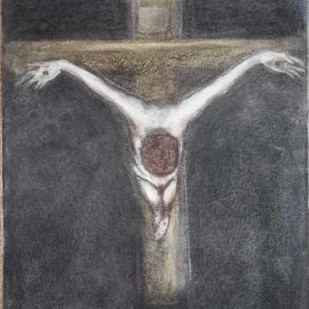 Jesus on Cross by Usha Ramachandran, Expressionism Painting, Charcoal on Canvas, Gray color