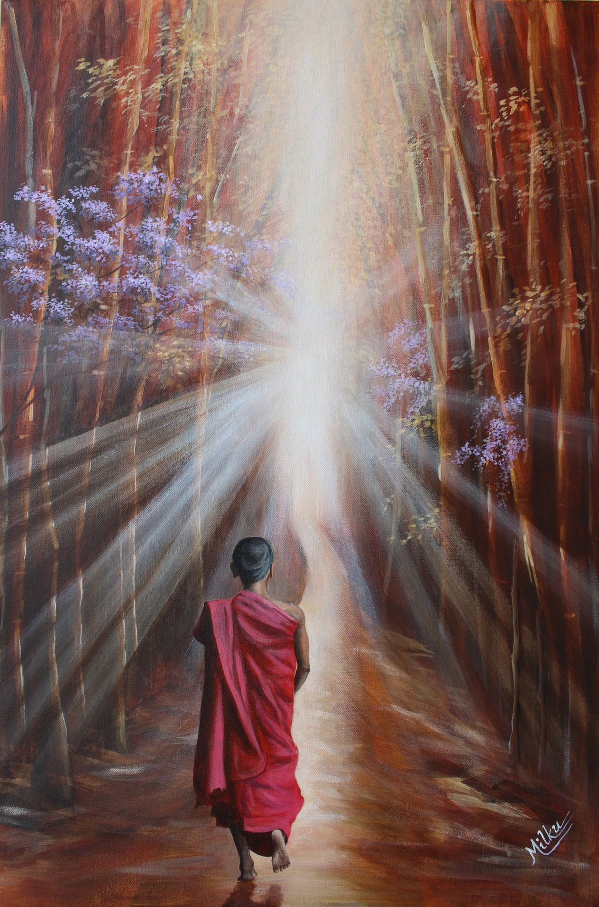 Ray of Truth by SOURAV SAHA, Realism Painting, Acrylic on Canvas, Brown color