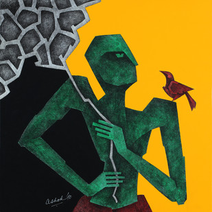 The bird seller by Ashok Bhowmik, Expressionism Painting, Acrylic & Ink on Canvas, Green color