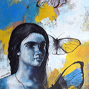 She_10 by Kishore Pratim Biswas, Expressionism Painting, Acrylic on Canvas, Blue color
