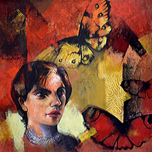 She_06 by Kishore Pratim Biswas, Abstract Painting, Acrylic on Canvas, Brown color