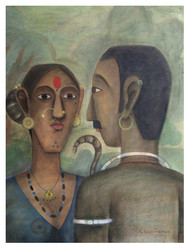 Telangana couple by Kandi Narsimlu, Expressionism Painting, Watercolor and charcoal on paper, Brown color