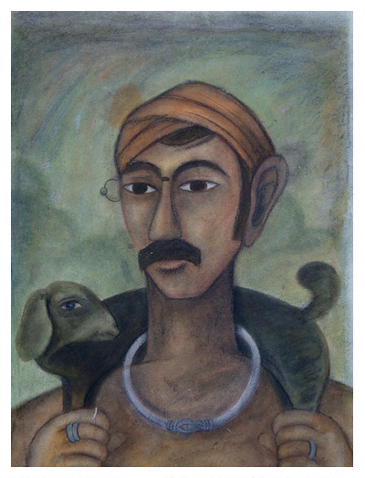 Kurma Komaraiah by Kandi Narsimlu, Expressionism Painting, Watercolor and charcoal on paper, Gray color