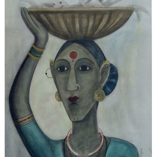 Fish Seller by Kandi Narsimlu, Expressionism Painting, Watercolor and charcoal on paper, Gray color