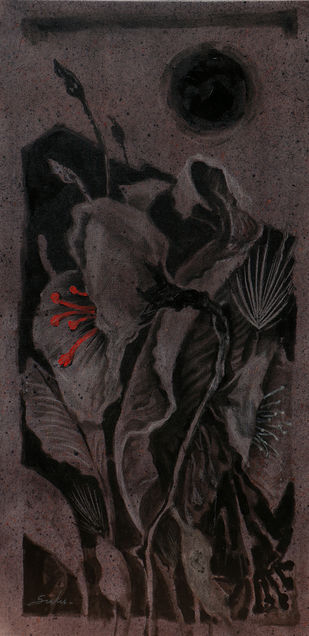 Blossom 4 by Sulakshana Dharmadhikari, Expressionism Painting, Acrylic on Canvas, Gray color