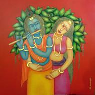 Babli keshri radha krishna acrylic on canvas. size  40 40inch 55000 mcp5247