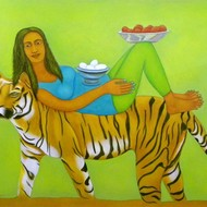 Babli keshri tie up 46 58 inches acrylic on canvas 85000 mcp5248