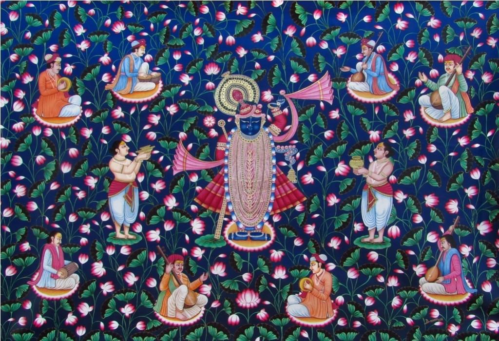 Untitled by Banwari Lal Jangid, Folk Painting, Acrylic on Canvas, Blue color