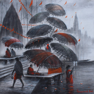 Banaras by Paramesh Paul, Impressionism Painting, Acrylic on Canvas, Green color