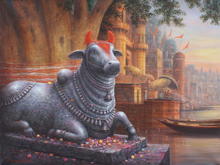 Nandi by Paramesh Paul, Traditional Painting, Acrylic on Canvas, Brown color