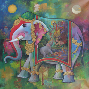 Gajanand by Rajeshwar Nyalapalli, Traditional Painting, Acrylic on Canvas, Green color