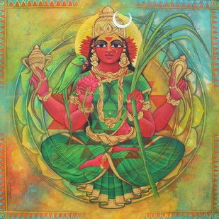 kamakshi by Rajeshwar Nyalapalli, Traditional Painting, Acrylic on Canvas, Green color