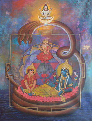 Trinity by Rajeshwar Nyalapalli, Traditional Painting, Acrylic on Canvas, Brown color