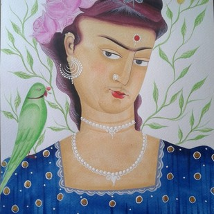 Kali-Kahlo 1 by Bhaskar Chitrakar, Folk Painting, Natural colours on paper, Blue color