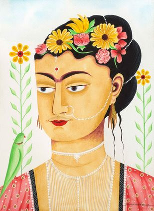 Kali-Kahlo 2 by Bhaskar Chitrakar, Folk Painting, Natural colours on paper, Brown color