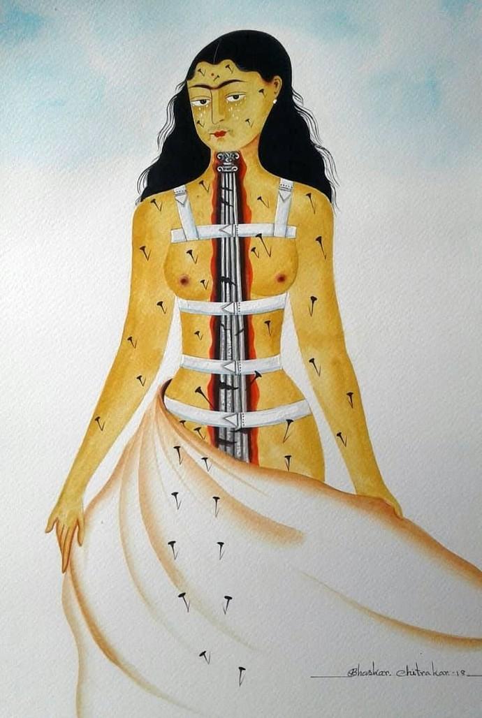 Kali-Kahlo 3 by Bhaskar Chitrakar, Folk Painting, Natural colours on paper, Gray color