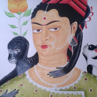 Kali-Kahlo 4 by Bhaskar Chitrakar, Folk Painting, Natural colours on paper, Brown color