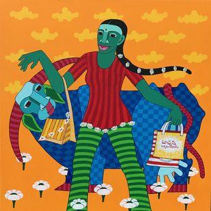 Untitled by Thota Laxminarayana, Folk Painting, Acrylic on Canvas, Orange color