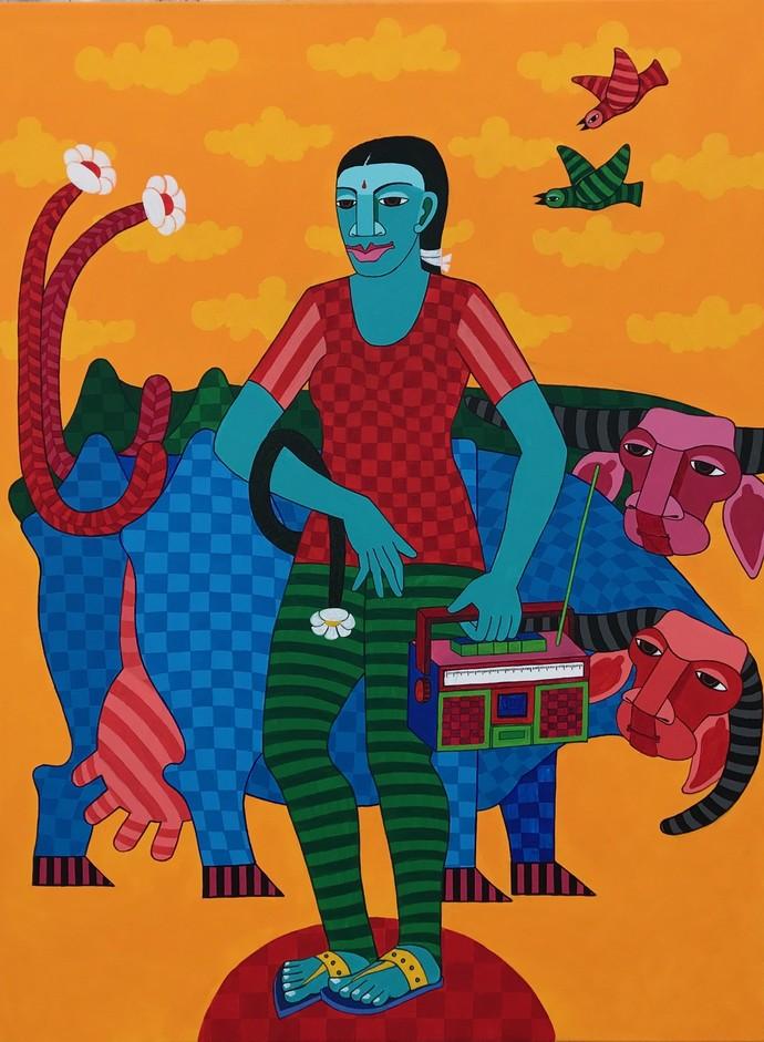 Untitled by Thota Laxminarayana, Decorative Painting, Acrylic on Canvas, Orange color