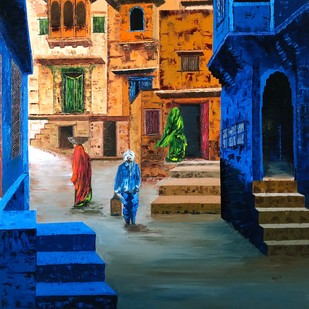 BUSY STREET 3 by Anuja Sane, Impressionism Painting, Oil on Canvas, Blue color