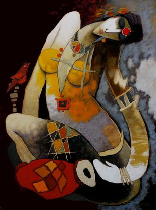 untitled by Surendra Pal Singh, Expressionism Painting, Acrylic on Canvas, Brown color
