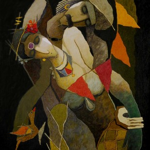 untiteld by Surendra Pal Singh, Expressionism Painting, Acrylic on Canvas, Brown color
