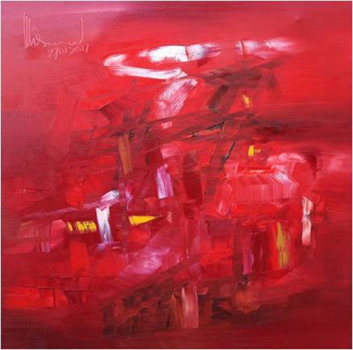 Untitled by Viswam, Abstract Painting, Oil on Canvas, Red color