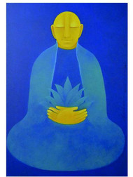 Untilted by Sonia Rodrigues Sabharwal, Expressionism Painting, Acrylic on Canvas, Blue color