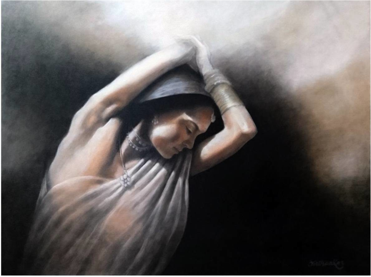 Untitled by Tirthankar Biswas, Expressionism Painting, Acrylic on Canvas, Gray color