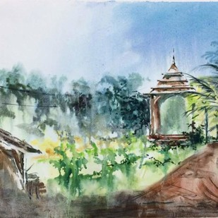 A Temple in the Green by Dipankar Biswas, Impressionism Painting, Watercolor on Paper, Green color
