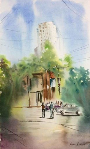 Kolkata City Line by Dipankar Biswas, Impressionism Painting, Watercolor on Paper, Beige color