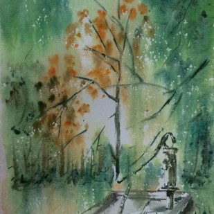 As if water is supplied by the trees around by Dipankar Biswas, Impressionism Painting, Watercolor on Paper, Green color