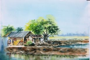 A Day in Shikharpur by Dipankar Biswas, Impressionism Painting, Watercolor on Paper, Cyan color