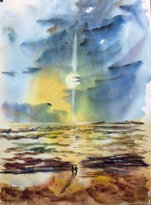 Beauty of Sea by Dipankar Biswas, Impressionism Painting, Watercolor on Paper, Brown color
