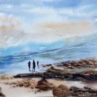 Delight of Andaman by Dipankar Biswas, Impressionism Painting, Watercolor on Paper, Cyan color