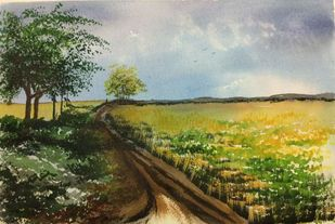 Where the Green meets the Blue.. by Dipankar Biswas, Impressionism Painting, Watercolor on Paper, Green color