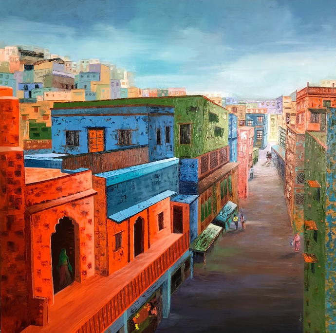 Busy Street by Anuja Sane, Expressionism Painting, Oil on Canvas, Brown color