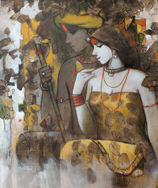 Untitled by Subrata Das, Expressionism Painting, Acrylic on Canvas, Brown color