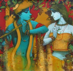 Couple by Subrata Das, Expressionism Painting, Acrylic on Canvas, Brown color