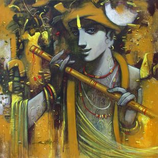 Tune of Love by Subrata Das, Expressionism Painting, Acrylic on Canvas, Brown color