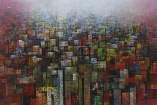 Old Town by M Singh, Geometrical Painting, Acrylic on Canvas, Brown color