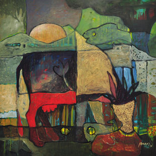 Village Mystry I by Tabrez Hassan Ansari, Expressionism Painting, Acrylic on Canvas, Brown color